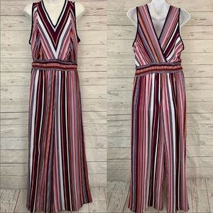 Monteau striped v-neck wide leg jumpsuit stretch